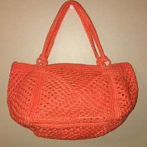 Extra large orange straw tote bag purse